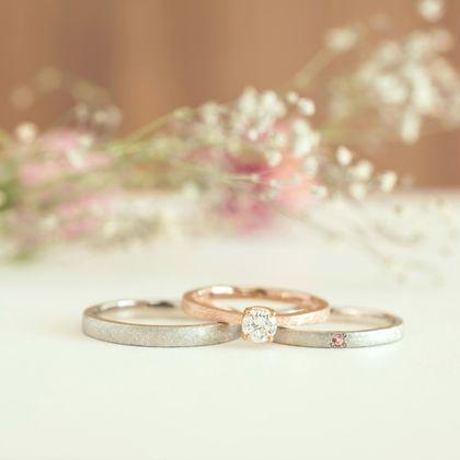 【横浜元町彫金工房】【結婚指輪・婚約指輪手作りコース(3本制作)】メンズPt900&レディースPt900&エンゲージK18PG(マット仕上げ)