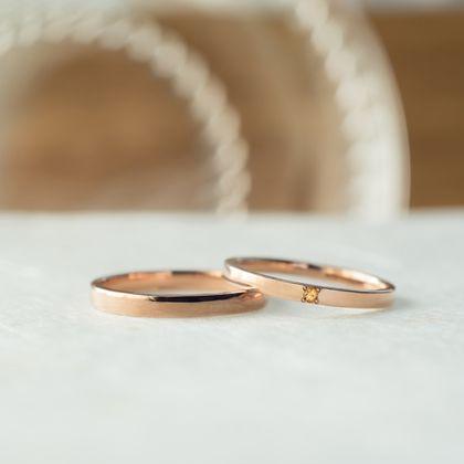 【横浜元町彫金工房】【ふたりでつくる結婚指輪】メンズK18PG&レディースK18PG(クリア仕上げ)