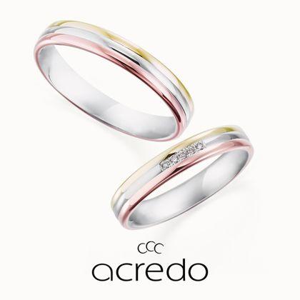 【acredo(アクレード)】【愛と勇気とSomething】3色のカラーゴールドとセンターのダイヤモンドが指元を華やかに