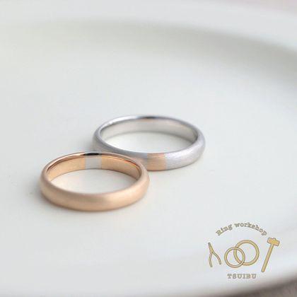【ついぶ工房】【二人の想いが詰まった手作り結婚指輪】プラチナ/K18イエローゴールド・甲丸型・コンビリング・マット仕上げ
