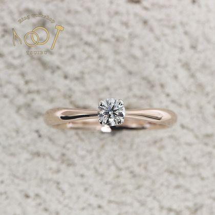 【ついぶ工房】【想いを込めた手作り婚約指輪】プラチナ/K18ピンクゴールド・甲丸型・4本爪・鏡面仕上げ