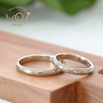 【ついぶ工房】【二人の想いが詰まった手作り結婚指輪】K18ホワイトゴールド・甲丸型・手彫り/ミルグレイン・鏡面仕上げ