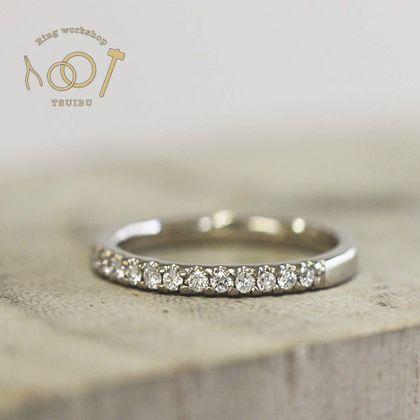 【ついぶ工房】【想いを込めた手作り婚約指輪】K18ホワイトゴールド・平打型・鏡面仕上げ