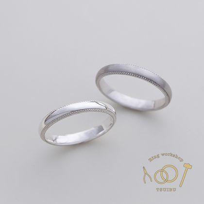 【ついぶ工房】【二人の想いが詰まった手作り結婚指輪】プラチナ・甲丸型・ミルグレイン・鏡面仕上げ/マット仕上げ