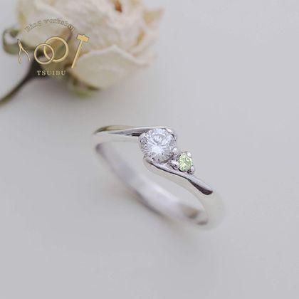 【ついぶ工房】【想いを込めた手作り婚約指輪】プラチナ・鏡面仕上げ