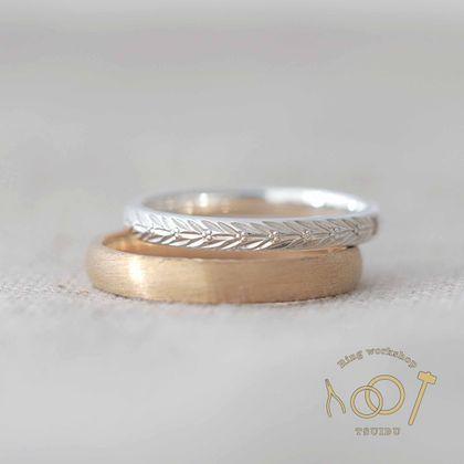 【ついぶ工房】【二人の想いが詰まった手作り結婚指輪】プラチナ/K18イエローゴールド・甲丸型・手彫り・マット仕上げ