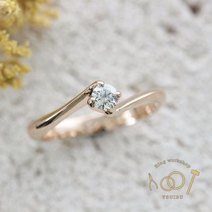 【ついぶ工房】【想いを込めた手作り婚約指輪】K18ピンクゴールド・鏡面仕上げ