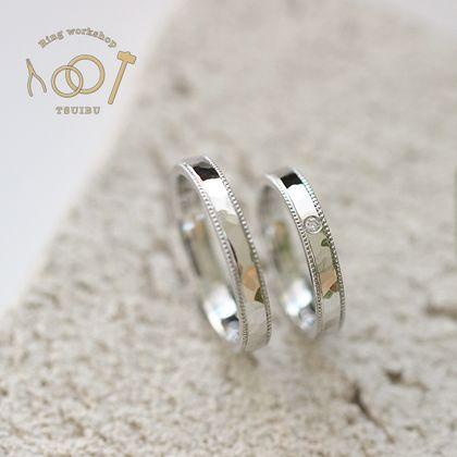 【ついぶ工房】【二人の想いが詰まった手作り結婚指輪】プラチナ・槌目型・ミルグレイン・鏡面仕上げ