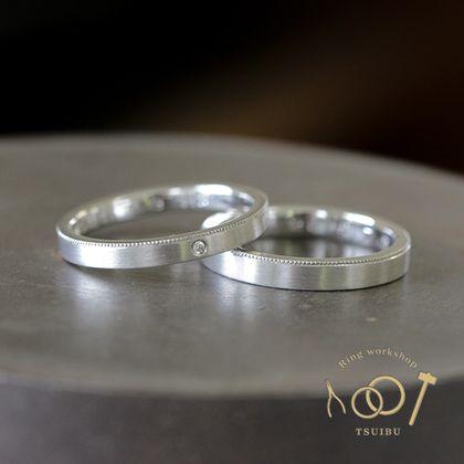 【ついぶ工房】【二人の想いが詰まった手作り結婚指輪】プラチナ・平打型・ミルグレイン・マット仕上げ