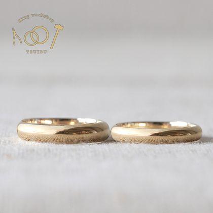 【ついぶ工房】【二人の想いが詰まった手作り結婚指輪】K18イエローゴールド・甲丸型・鏡面仕上げ