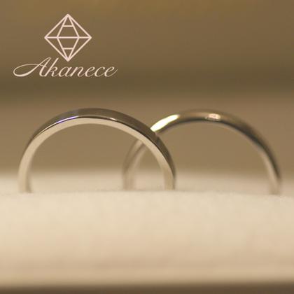 【アカネス】『二人で作る』結婚指輪 Pt900プラチナ2mm幅(平打ち・甲丸)