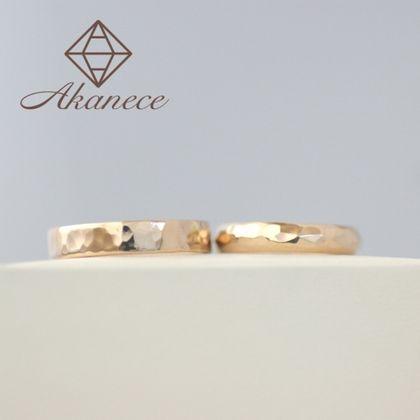 【アカネス】『二人で作る』結婚指輪 K18ピンクゴールド3.5mm幅(平打ち・甲丸)